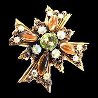 Vintage Florenza Large Brooch Maltese Cross