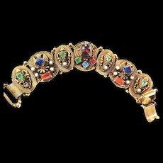Egyptian Revival Fabulous  Stones Big Bracelet  Vintage 50s Charm Style