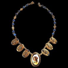Victorian Portrait Czech Necklace Must C