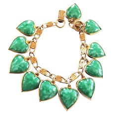 Warner Jade Green Vintage Heart charm bracelet
