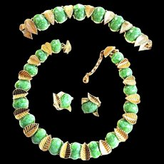 Marcel Boucher Faux Jade Necklace Bracelet Earrings 50s