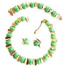 Marcel Boucher Faux Jade Necklace Bracelet Earrings 50s