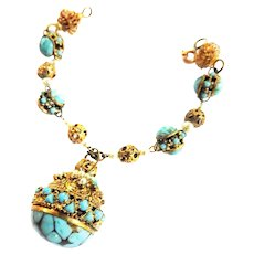 Vintage Czech Charm Bracelet with Turquoise and Faux Pearls Must C