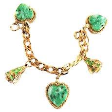 FUn Fun Fun Vintage Art Glass Charm Bracelet Faux Pearls