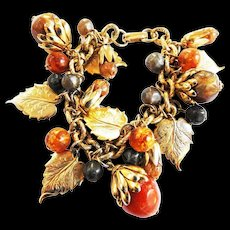Lots of Noise Nuts Leaves and Everything Else Vintage Charm Bracelet