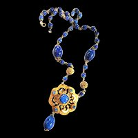 Czech Early 1900s Lapis Blue Necklace
