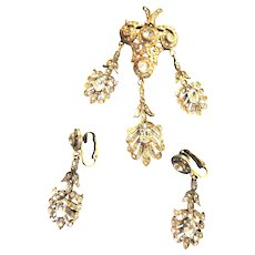 Exquisite vICTORIAN Drippy Brooch and Chandelier Earrings