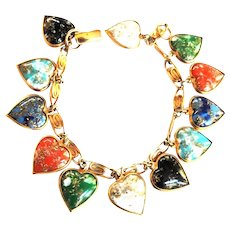 Young at Heart Warner Multi Colored Heart Charm Bracelet