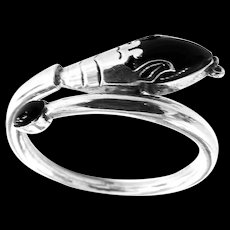 Fabulous Onyx Sterling Silver Cobra Bracelet 1940s