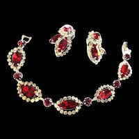 Weiss Halo Red Rhinestone Bracelet and Earrings