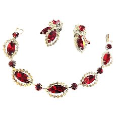 Weiss Halo Red Rhinestone Bracelet and Earrings