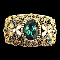 Early 1900s Czech Highly Detailed Clamper Bracelet