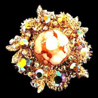 Filigree Nd Aurora Borealis Faux Marble Juliana Vintage Brooch