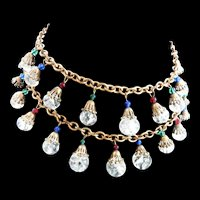 Exquisite Designer Crackle Glass Drop 1940s Necklace