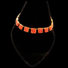 Faux Carnelian Czech Early 1900s Poured Glass Necklace