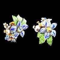Vintage 1950s Enamel Flower Designer Clip Earrings
