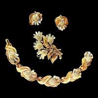 Crown Trifari Bracelet Earrings Brooch 60s