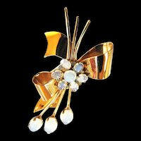 Vintage 40s Coro Sterling Moonstone Brooch