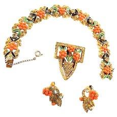 Jaw Dropping Bracelet Earrings Brooch 1940s