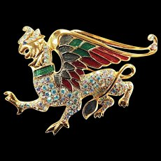 Fabulous Trifari Winged Dragon Must C