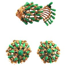 Rare Har Figural Fish and matching Earrings  and Brooch Vintage 50s