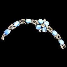 Spectacular Designer Moonstone Cabochon and Rhinestone Bracelet