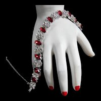 Stunning Philippe Trifari Red and Clear Bracelet