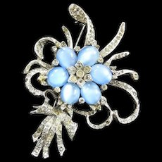 Exquisite Designer Moonstone 1940s Brooch