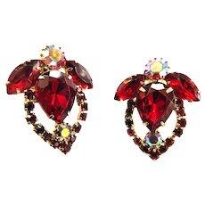 Juliana Red Clip Vintage Earrings