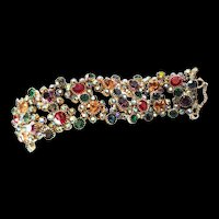 1950,'s Designer Prong set Multi Colored Rhinestone Bracelet