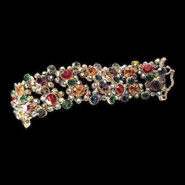 1950,'s Designer Prong set Multi Colored Rhinestone Bracelet