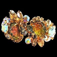 Fabulous Juliana Poured Glass Pineapple Stone Clamper Bracelet