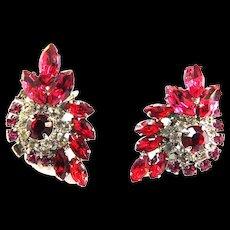 Juliana Fuchsia Clip Earrings