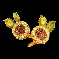 Vendome Flower Clip Back Vintage Earrings