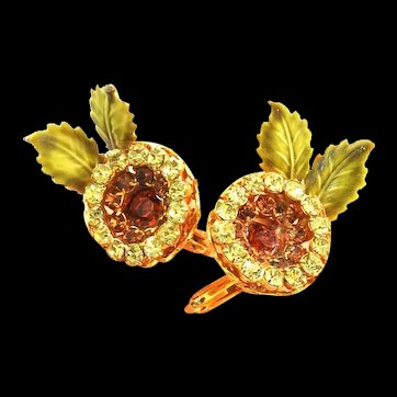 Vendome Flower Clip Back Vintage Earrings