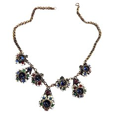 Early 1900s Czech Drippy Cabochon Necklace