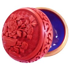 Chinese Export Carved Cinnabar Jewelry Box Vintage