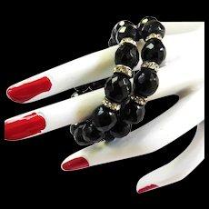 Vintage Black Jet Faceted Beads Wrap Bracelet