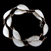 David Andersen Silver Enamel Leaf Bracelet Vintage