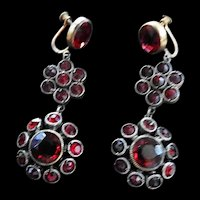 Victorian Garnet Long Drippy Garnet Earrings