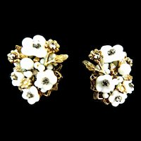 Rare DeMario Glass Flower and Rhinestone Earrings 1940s