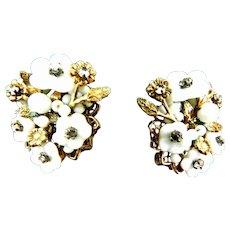 Rare DeMario Glass Flower and Rhinestone Earrings 1940s