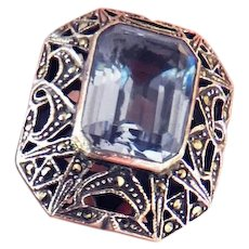 Art Deco Huge Marcasite And Light Sapphire Blue Cocktail Ring