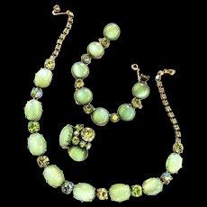 Designer Moonstone Parure Mint Green