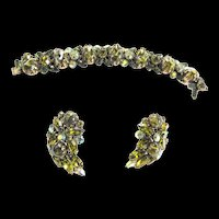 Regency Art Glass Bracelet and Earrings