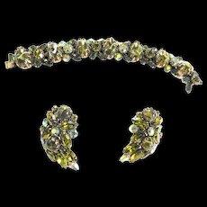 Regency Art Glass Bracelet and Earrings