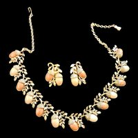 vintage Acorn Necklace and Earrings
