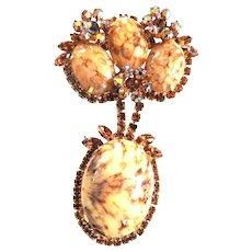 Hard to Find Juliana Italian Marble Massive Brooch Bracelet Earrings