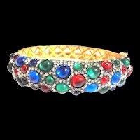 1960s Clamper Bracelet with Red Blue Green Cabochons