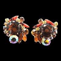 JUliana Vintage Huge Art Glass Earrings